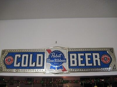 "12"" x47"" x 1"" Pabst Blue Ribbon Cold Beer sign"