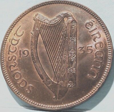 Ireland Coin PENNY 1935, RARE RED/BRN UNC. NATURAL TONING STRIKE SOLID