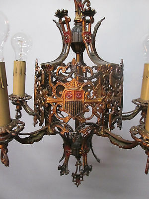 Vintage Antique Bronze Chandelier Ceiling Light Gothic Arts & Crafts Mission