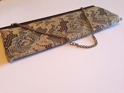 Banana Republic Brown Very Small Clutch w/Tan Lace - used once