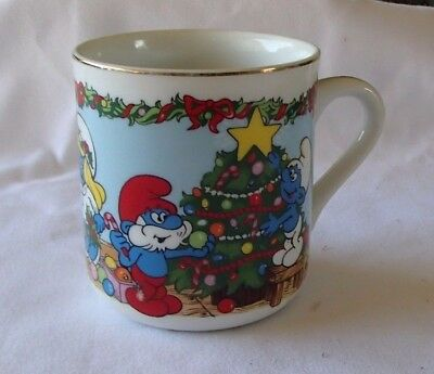 Smurfs Merry Christmas 1983 Mug Night Before Christmas Vintage Collectible Cup