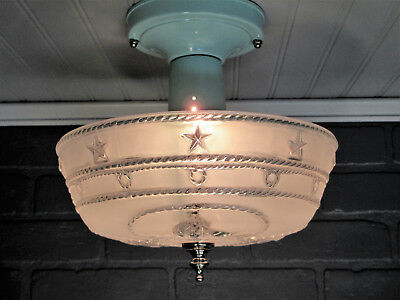 "Vintage Antique Semi Flush Mount Art Deco NAUTICAL Light Fixture Aqua  10"" Long"