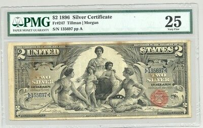 $2 Series 1896 Educational Silver Certificate in PMG Very Fine 25 condition