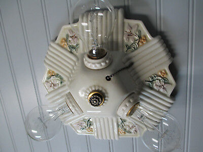 Antique Vintage Art Deco Porcelain Flush Mount Pull Chain Ceiling Fixture Lily