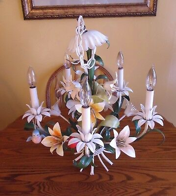 Vintage Italian Tole Chandelier Floral Lillies 5 Lights Mid Century Modern Italy