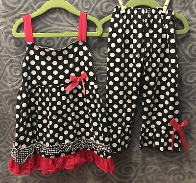Boutique resell 2 pc tank tunic ruffle leggings size 4 4T pink black polka dots