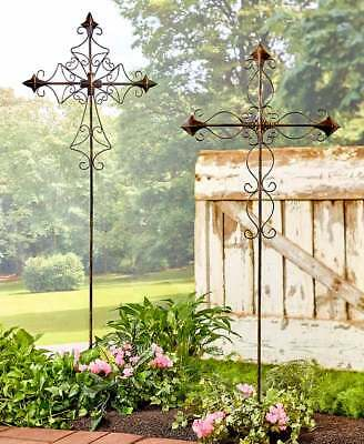 Outdoor Garden Stakes 4 FT Tall Cross Metal Religious Memorial Yard Decorations