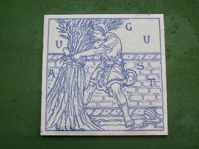 "Arts & Crafts Tile ....""August  ""  By Craven Dunnill circa.1880"