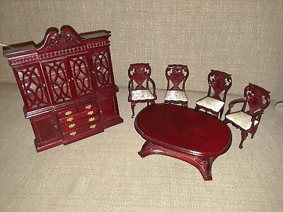 Vintage Chippendale Dollhouse Dining room set, Mahogany color furniture