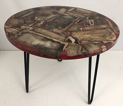 Vintage Mid Century Modern Red Resin Table With Petrified Wood & Hairpin Legs
