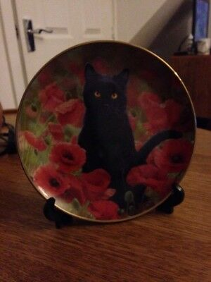 Poppy By Simon Mendez Cat Plate, 22ct Gold Plated Danbury Mint LIMITED EDITION!