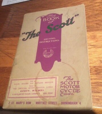 Vintage Original The Book of the Scott c.1949 Scott Motorcycle Company Rare