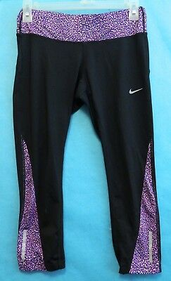 Nike Running Dri Fit Womens Black & Pink Print Crop Capri Leggings  Size Small