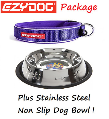 EZYDOG PACKAGE PURPLE  Neo Dog Collar & Stainless Steel Food Bowl - All Sizes