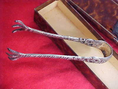 VINTAGE   .800 (80%) Fine Silver Sugar Cube Tongs.- NEW IN BOX  -Germany