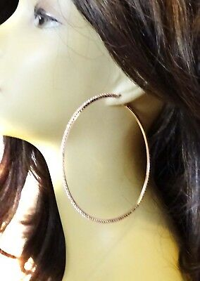 Large Rose Gold Hoop Earrings Crystal 4 Inch Pierced Hoops