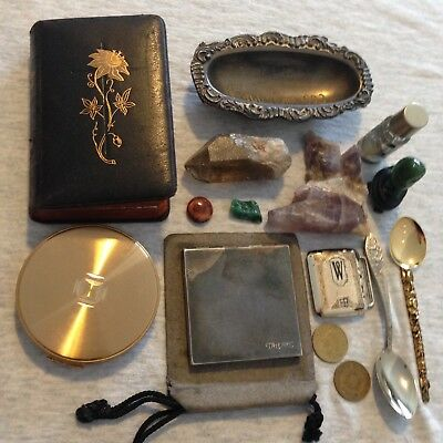 Junk Drawer Lot Coins 1893 Worlds Fair Jade Green Owl Compacts Old German Book