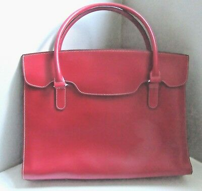 LODIS Red Leather Business Briefcase Small Laptop Bag