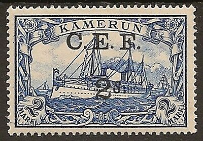 NIGERIA CAMEROON 1915 C.E.F. OVPT 2s ON 2m YACHT SGB11 MINT
