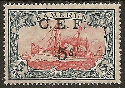 NIGERIA CAMEROON 1915 C.E..F. OVPT 5s ON 5m YACHT SGB13 MINT