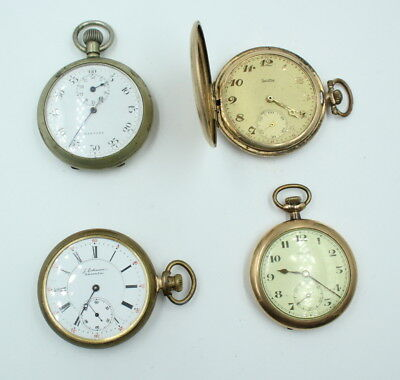 Lot Of 4 Vintage Pocket Watches For Parts Or Repair- No Reserve #572