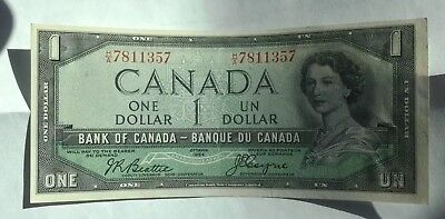 Canada 1 Dollar Note Almost Mint Condition 1954