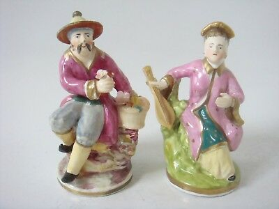 Rockingham - Derby Porcelain Pair Of Oriental Figures With Mandolin & Posy C1820