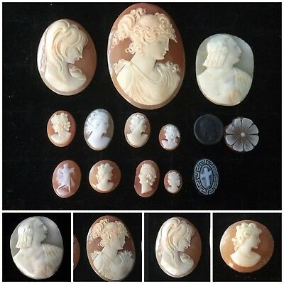 Vintage Antique Cameo Job Lot Cameos Large and Small Collectables x 14
