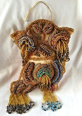 """IROQUOIS Native American INDIAN Beaded BOOT Shaped WHIMSEY Wall Hanger. """"RARE"""""""