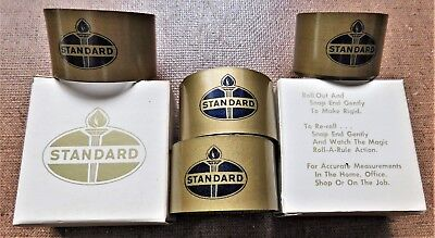 """Early 1960's STANDARD OIL 4 Steel ROLL-OUT 36"""" TAPE RULES - RULERS ~ MIB"""