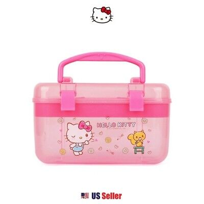 Sanrio Hello Kitty Multi Jewelry Case Box Desk Organizer Box : Pink