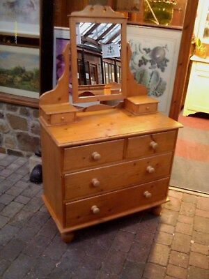 antique pine dressing table / chest