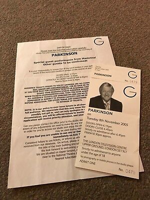 Madonna Ticket And Info For Michael Parkinson Interview  November  8Th 2005