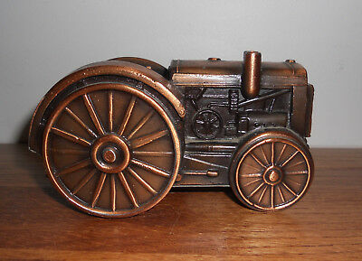 Vintage Banthrico Tractor Sloted Coin Bank Copper Color Chicago