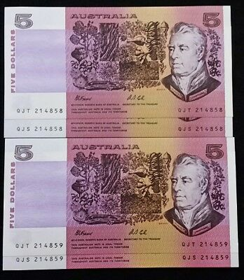 Unc Fraser Cole Same Consecutive Numbers Rare 2 X 214858 & 214859