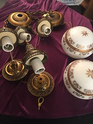 Antique Brass Lighting Fixtures, Set of 4, 2 wall sconce's, 2 hanging, 2 globes