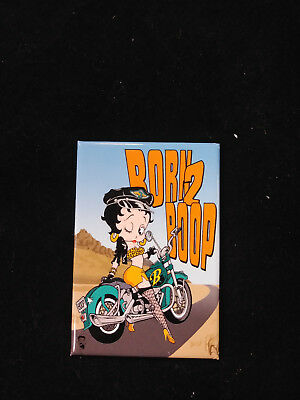"Betty Boop Born 2 Boop Motorcycle Ride Road Desert 2"" x 3"" Small Sign Magnet NEW"
