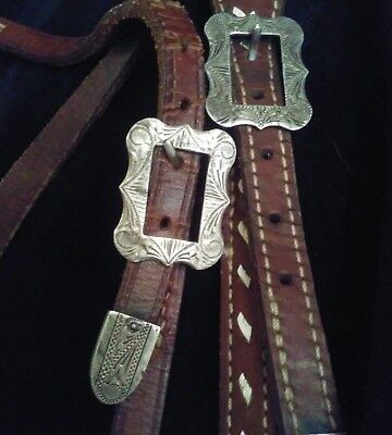 Vintage Marked Sterling Silver Western Headstall Buckstiched