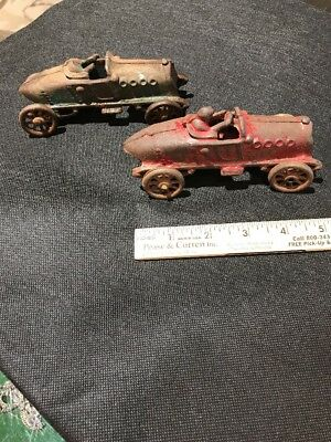 Pair Of Antique Cast Iron Old Time Race Car Toys Hubley? Estate Find
