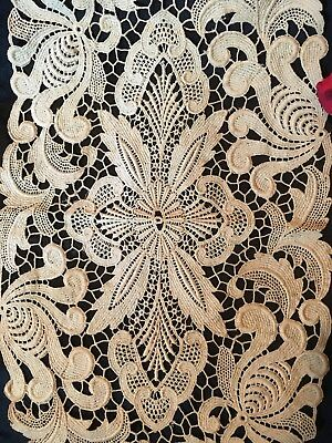"""c1880s SWISS  CHEMICAL (Guipure) LACE DOILY~Dark Ivory~Authentic~25"""" x 10""""!  🌺"""