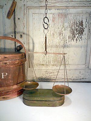 AAFA Hanging Brass Balance Scale Painted Tin Case & Weights Antique Scale