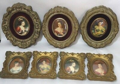 Lot 7 Cameo Creation Framed Wall Art Pictures With Convex Glass Vintage Signed