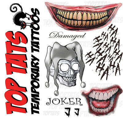 Joker Suicide Squad Fancy Dress Outfit Costume Temporary Tattoo Damaged Skull J1