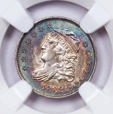 Vibrant Rainbow Toned 1832 Capped Bust Silver Half Dime NGC MS61 - Color Toning