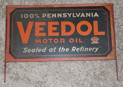 Two Sided Vintage Metal ORIGINAL VEEDOL MOTOR OIL SIGN Pennsylvania Advertising