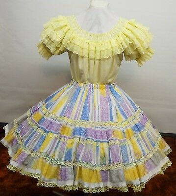 2 Piece Yellow Lace And Print Square Dance Dress