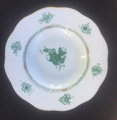 Herend Chinese Bouquet Green Rim Soup Plate Dish Av 504 - 4 Available - Mint!!