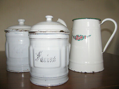 1920s Pair Vtg French ENAMELED Ribbed Canisters + Coffee Pot Floral Decor Roses