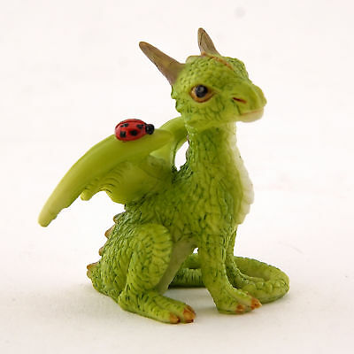 Miniature Dollhouse FAIRY GARDEN - Mini Green Dragon with Ladybug - Accessories