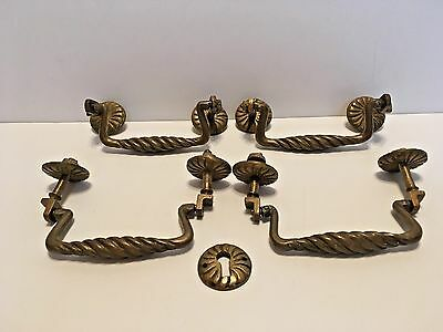 Antique Vintage Sold Brass Twisted Drawer Pulls Set Of Four One Escutcheon